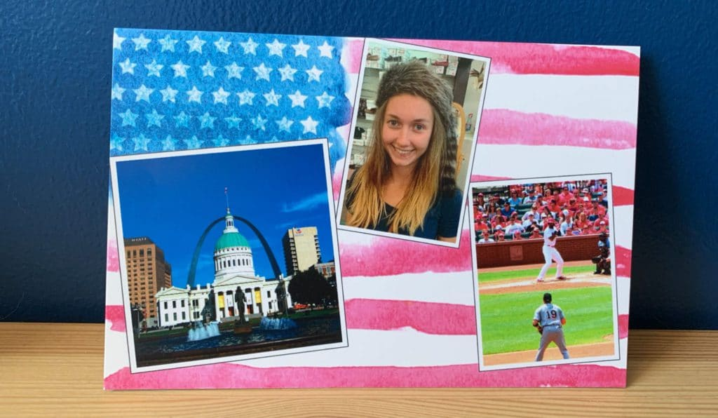 Carte postale USA drapeau américain