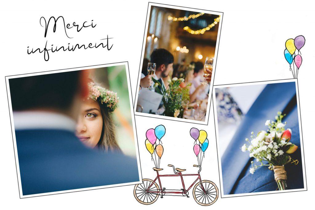 Carte postale de remerciement de mariage avec tamdem et ballons