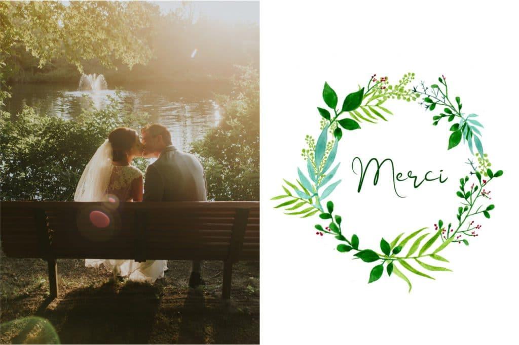 Carte postale de remerciement de mariage avec couronne de feuilles