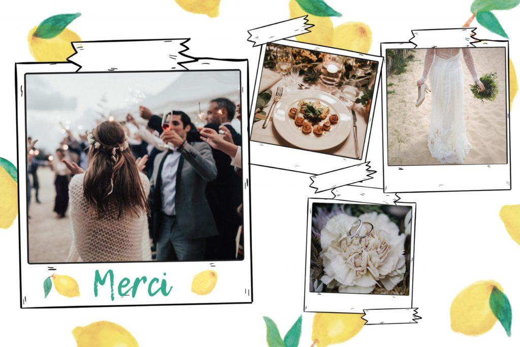 Carte postale de remerciement de mariage de couleur jaune parsemée de citrons