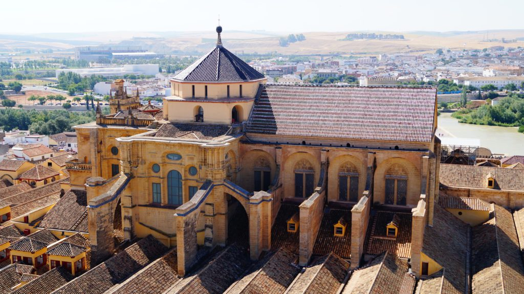 Mosquée de Cordoue, vue aérienne, architecture. Ville qui organise les nuits blanches du flamenco en juin.