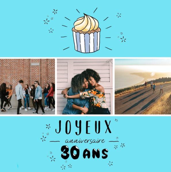carte anniversaire 30 ans avec cupcake