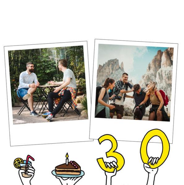 carte anniversaire 30 ans avec dessins de mains