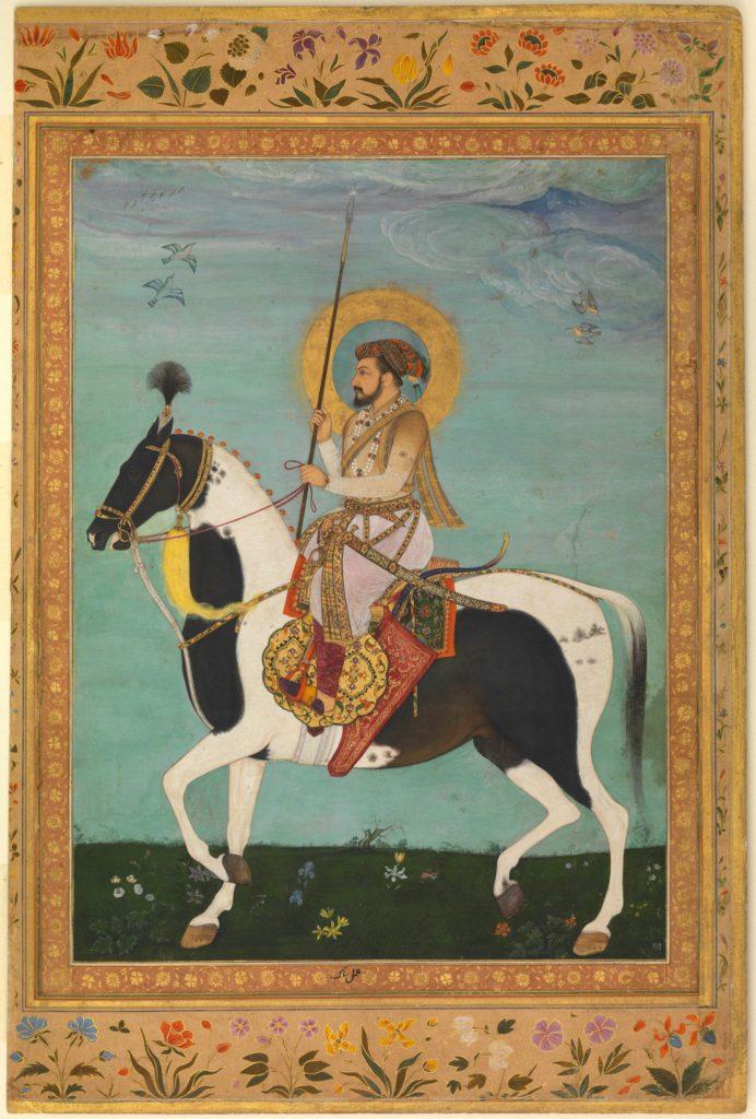 Gravure de Shah Jahan sur un cheval