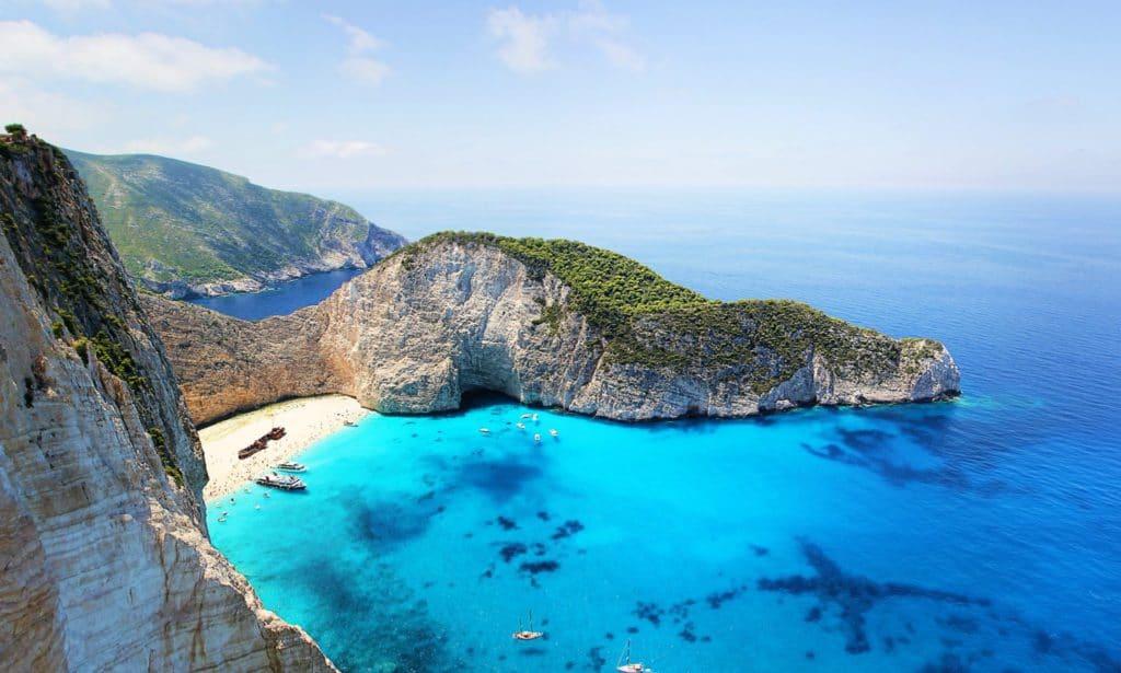 Plage de Zante en Grèce, îles ioniennes