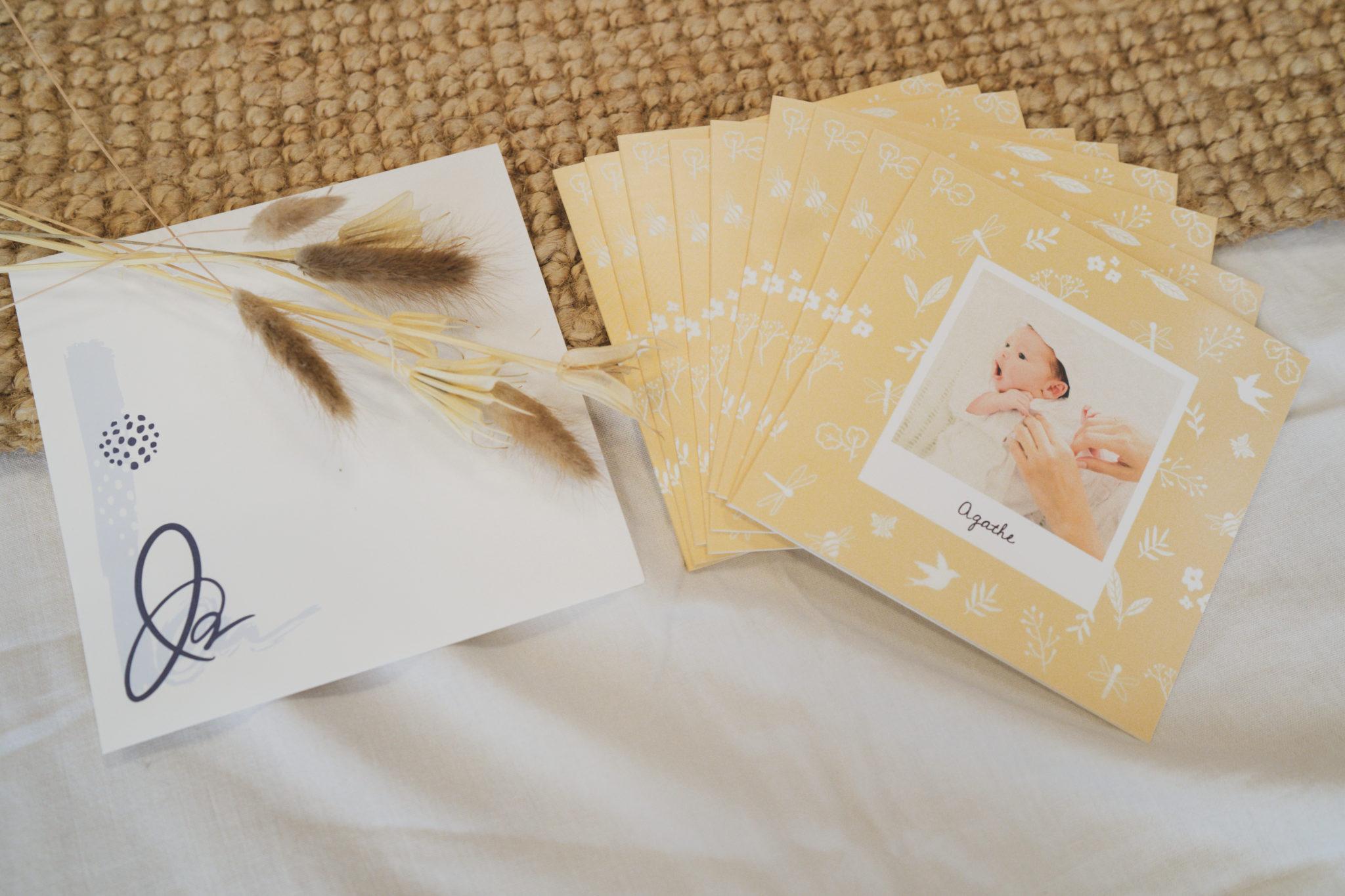 lot de cartes de naissance jaunes fleuries