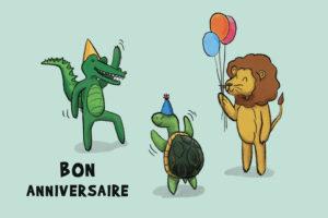 carte postale anniversaire verte avec animaux lion tortue crocodile
