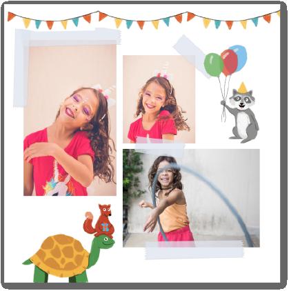 carte anniversaire enfant animaux raton-laveur tortue
