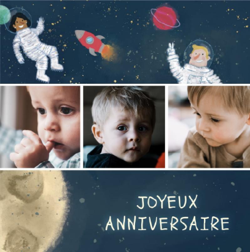carte joyeux anniversaire astronaute espace