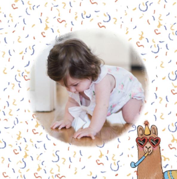 carte anniversaire enfant confetti lama