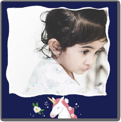 carte d'anniversaire licorne et étoiles
