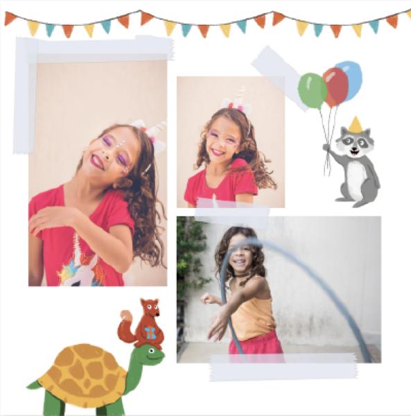 Illustration anniversaire avec une tortue un raton-laveur et un ecureuil