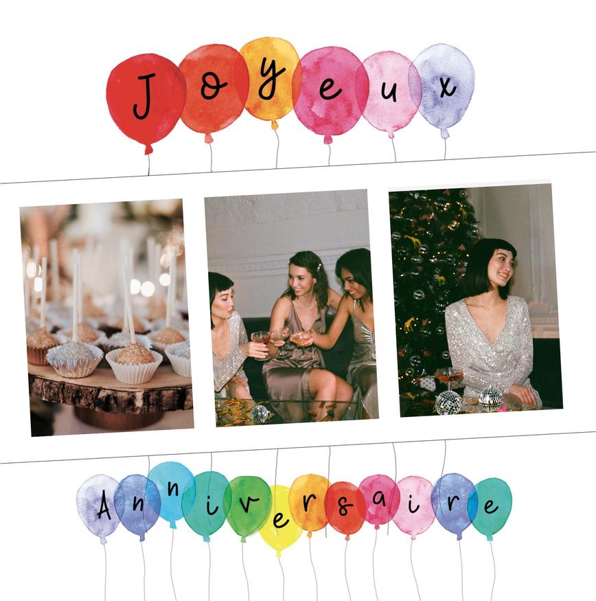carte joyeux anniversaire pour femme avec ballons