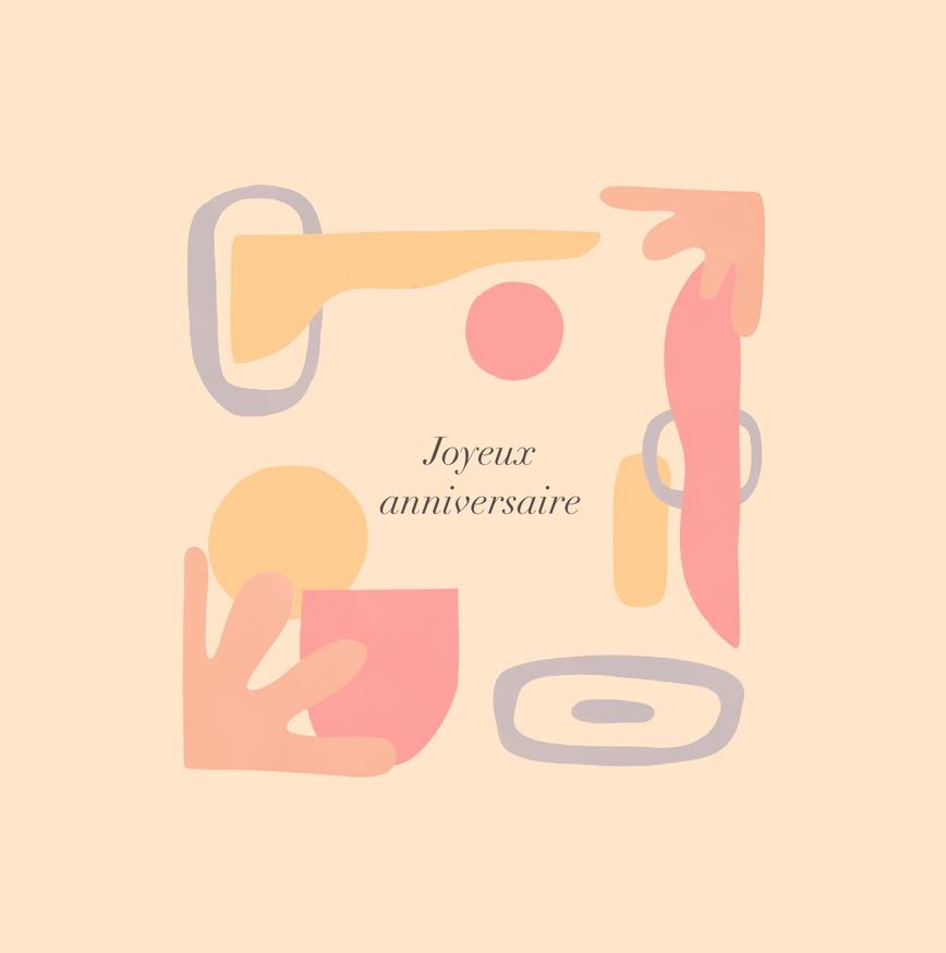carte joyeux anniversaire orange peche avec formes designs et modernes