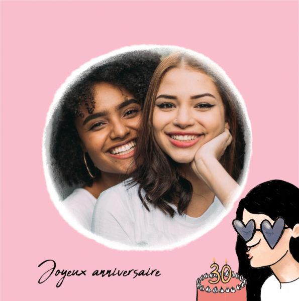 carte d'anniversaire rose joyeux anniversaire 30 ans