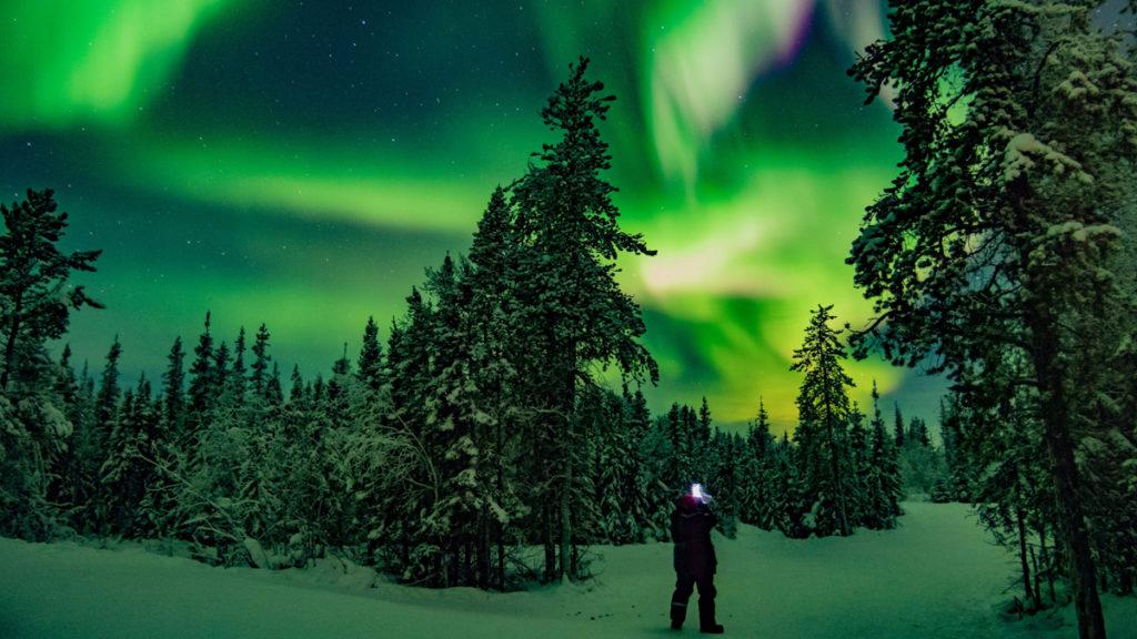 Aurore boreale a Yellowknife au Canada