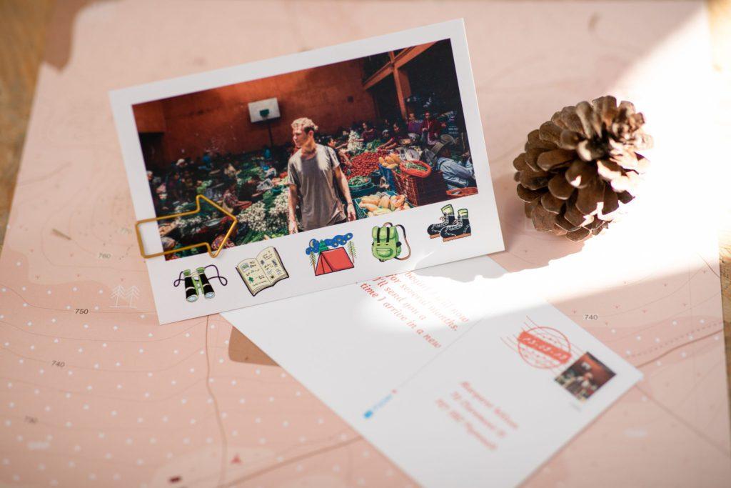 carte postale voyage avec texte personnalise