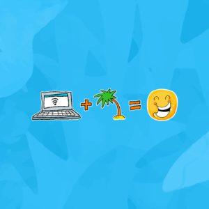 illustrations remote ordinateur palmier smiley