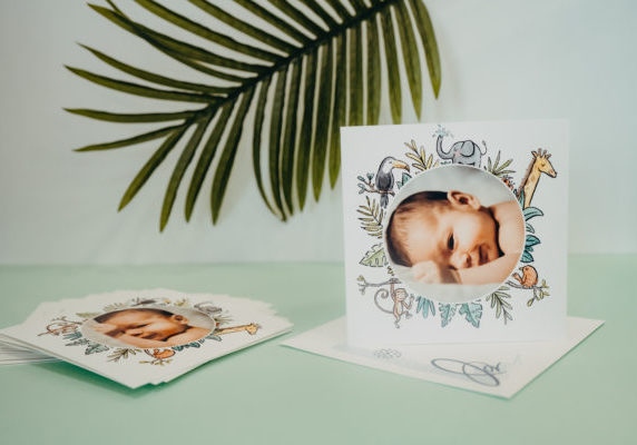 jungle greeting card for birth
