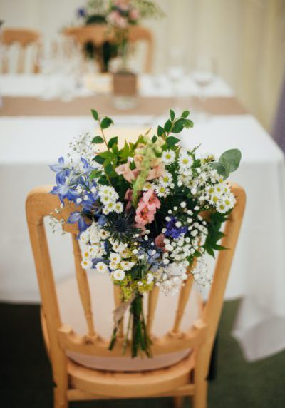 table decoration with wild flowers of the fields