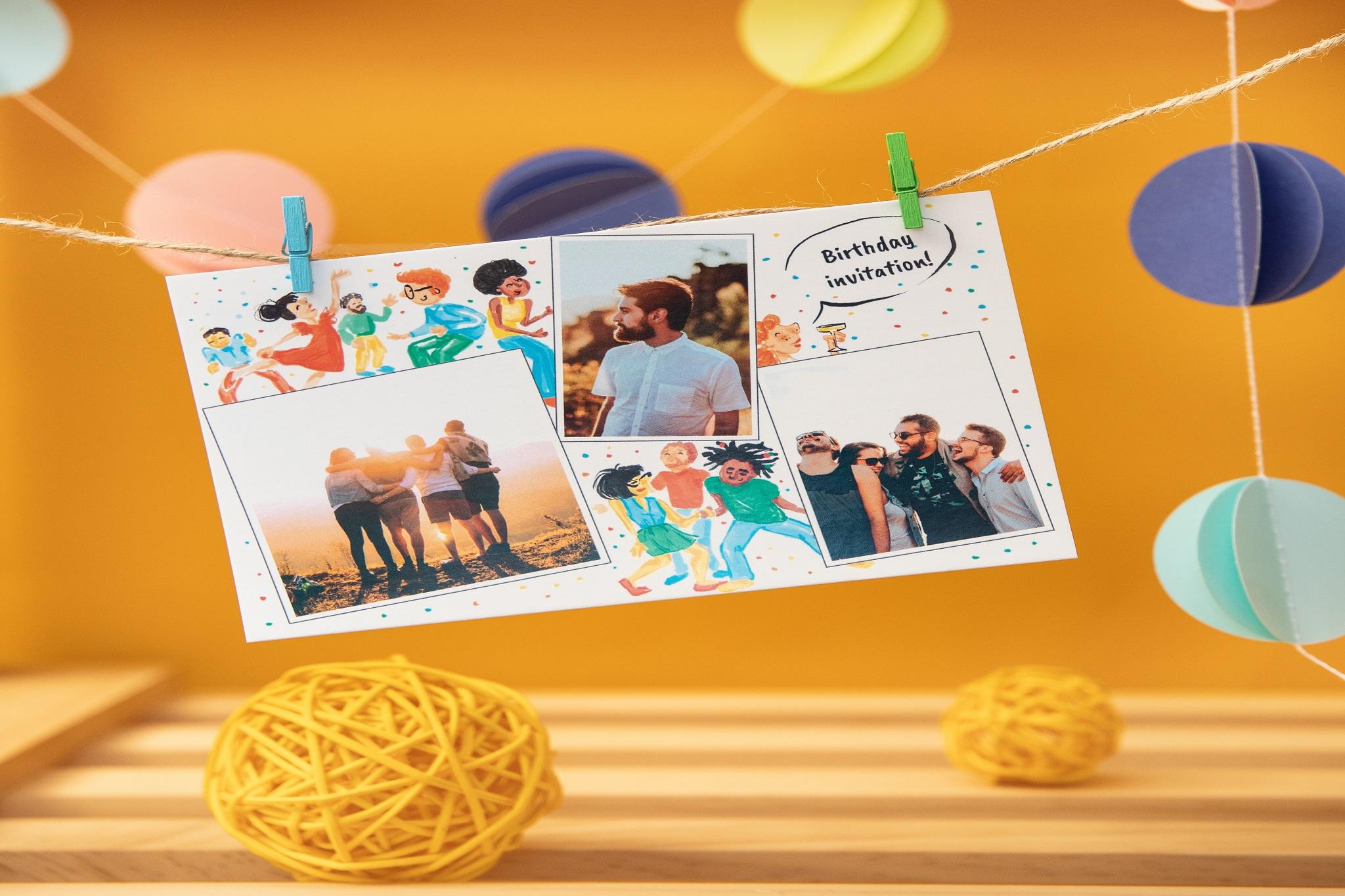 carte postale sur guirlande avec photos amis