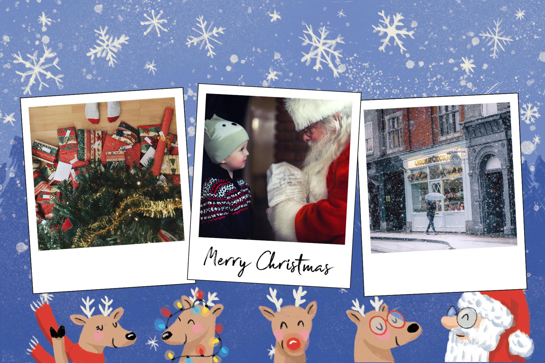 Carte Joyeux Noël bleue avec rennes