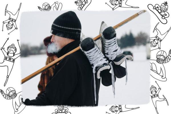 carte avec bonhommes a ski et snowboard