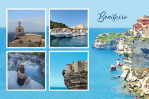 Carte postale de Bonifacio avec village au bord des falaises