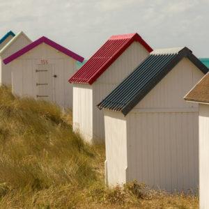 Cabanes de Gouville-sur-Mer dans la Manche en Normandie