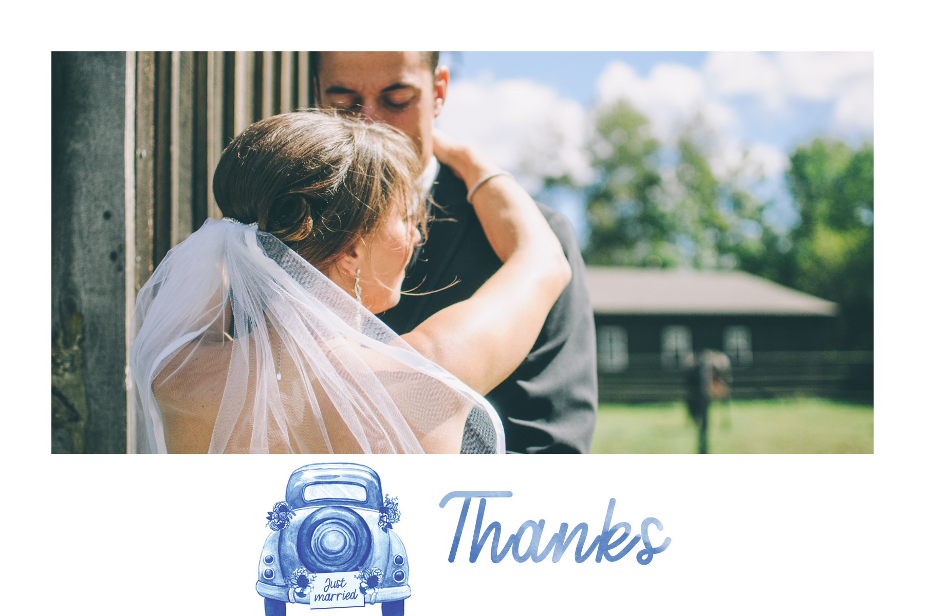 thank you card with blue coccinelle car
