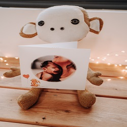baby card placed on stuffed monkey
