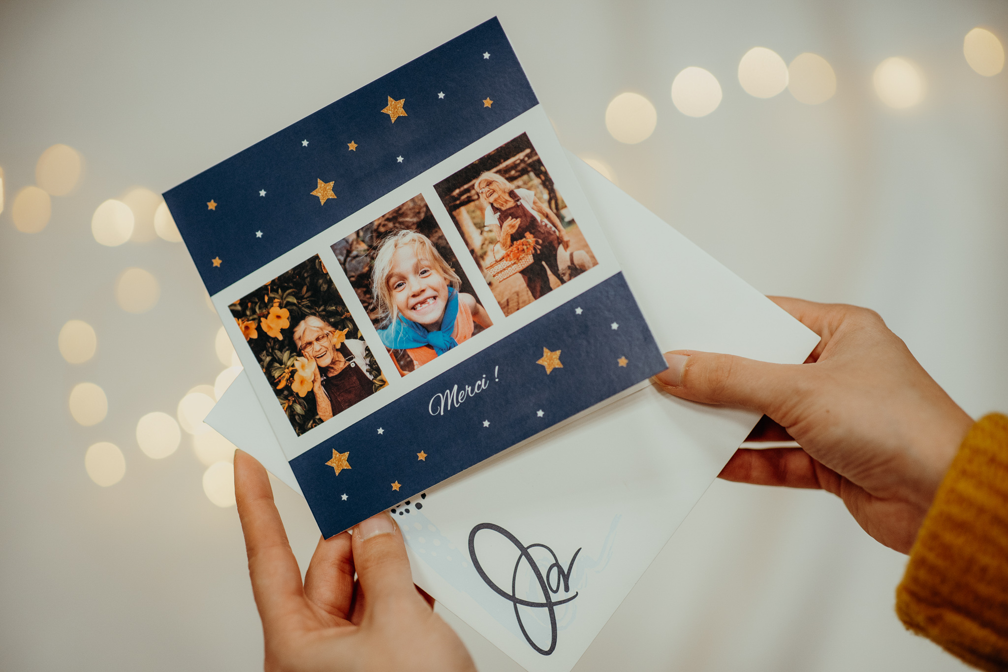 thank you card with child grandmother and stars