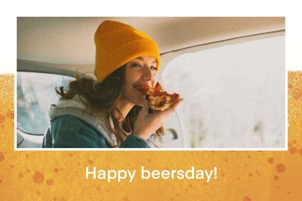Carte anniversaire Fizzer pour adultes motif biere