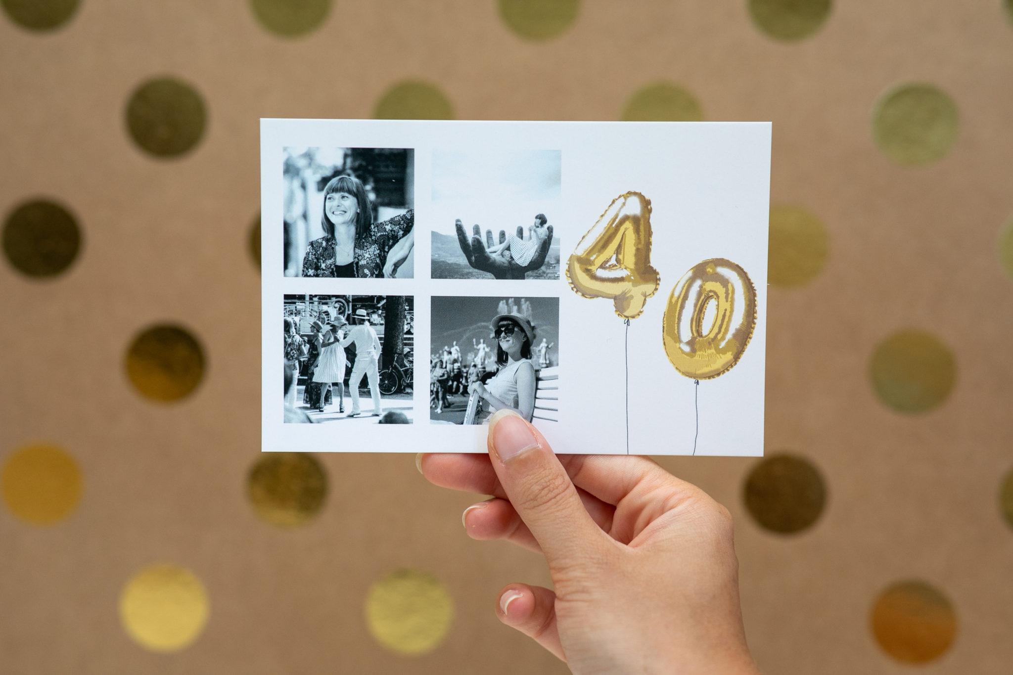 Carte d'anniversaire 40 ans avec photos