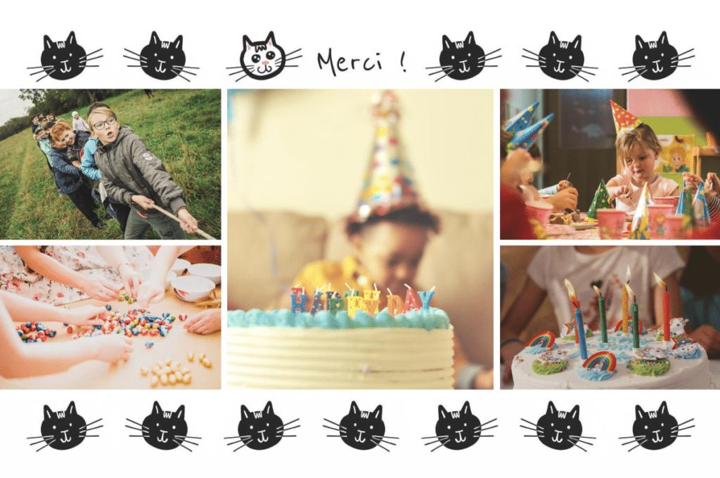 Carte postale de remerciement après un anniversaire pour enfant, thème chat