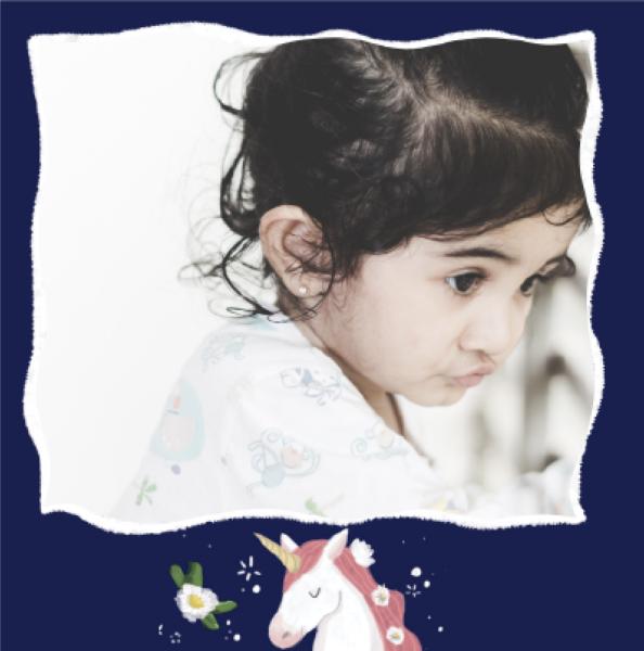 carte d'invitation anniversaire fille avec licorne