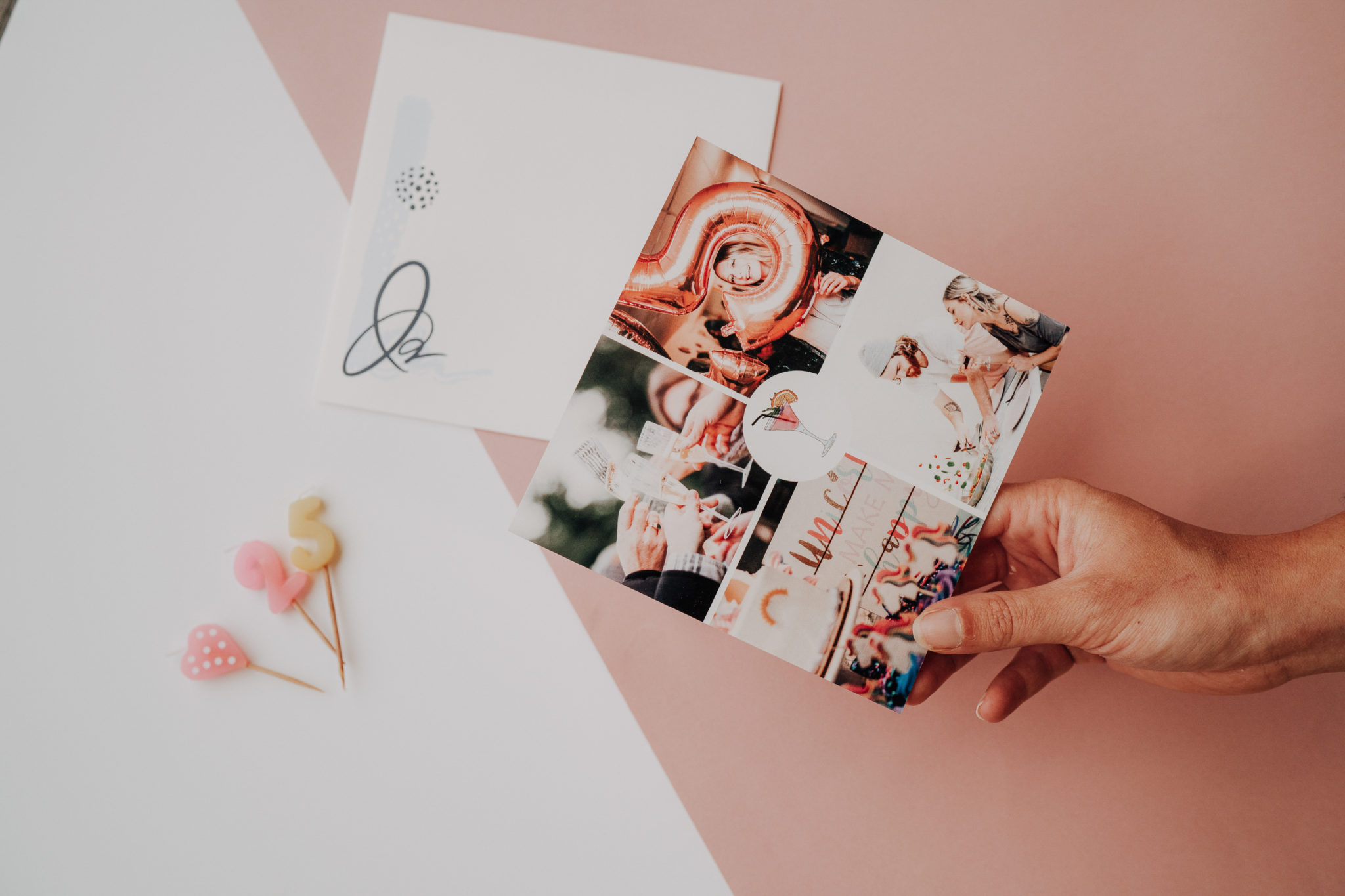 carte anniversaire avec quatre photos roses