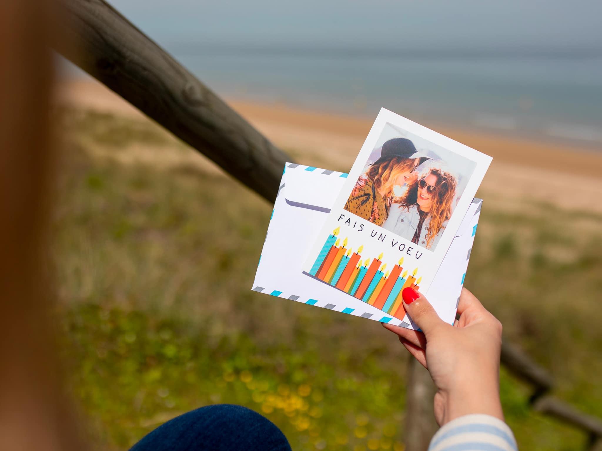 Carte postale anniversaire Fizzer Fais un voeu