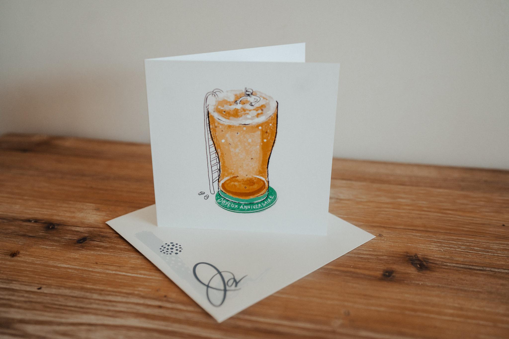 carte anniversaire avec piscine pinte de biere