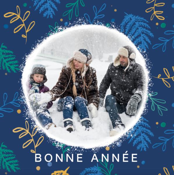 carte de bonne annee bleue avec famille