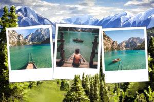 Carte postale avec chaine de montagnes Pyrenees