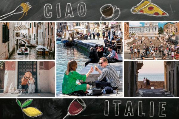 Carte postale Italie avec photos sur fond noir