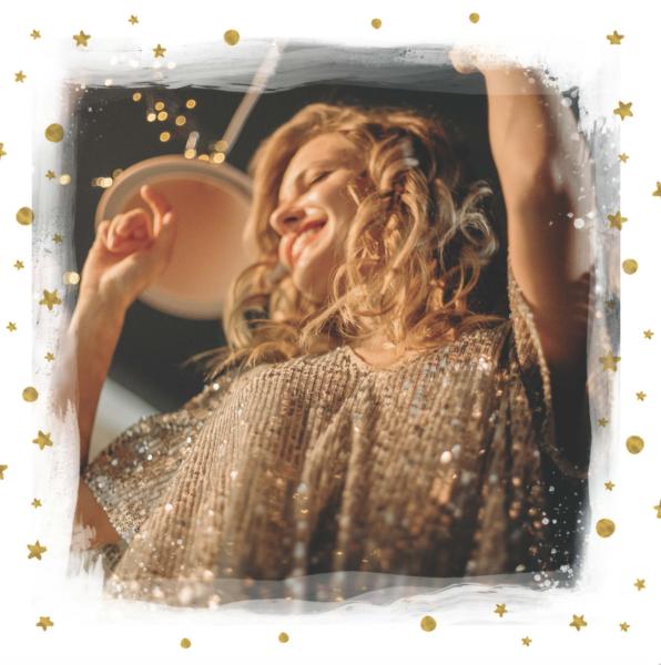 carte nouvel an blanche avec etoiles dorees