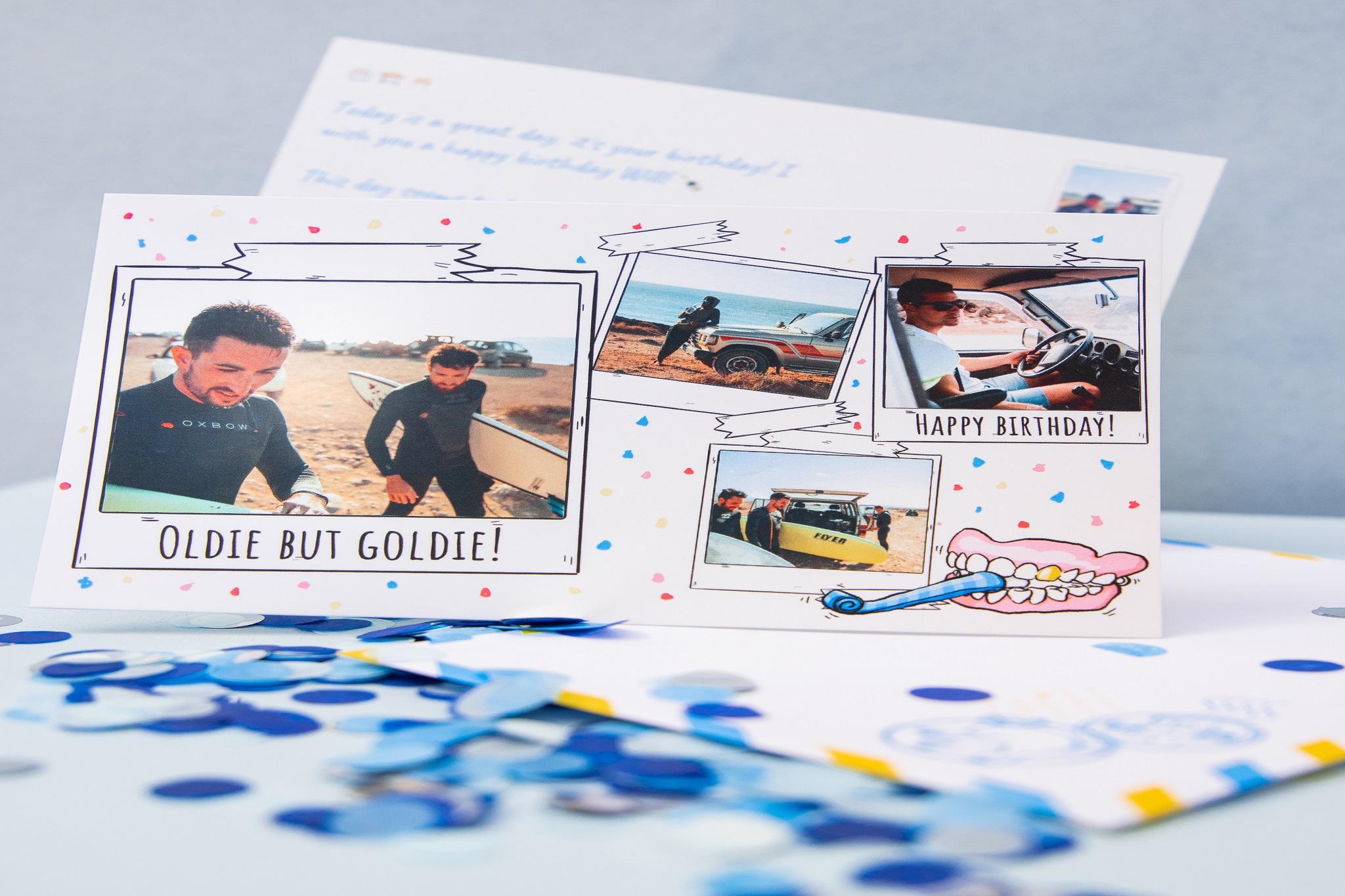 carte anniversaire avec quatre photos sur confetti