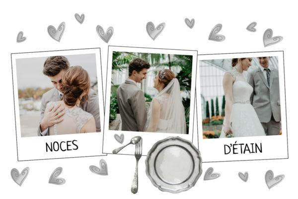 Carte anniversaire de mariage 10 ans noces d'etain