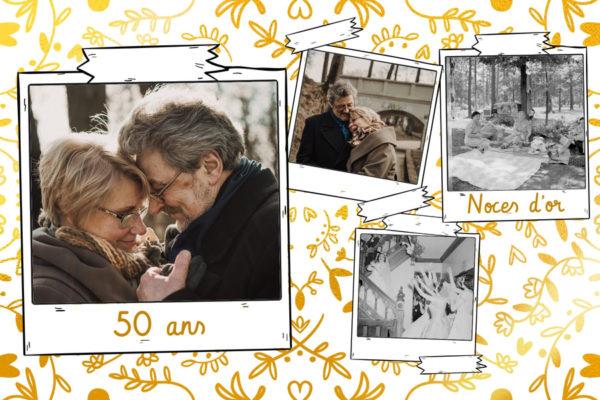 Carte noces d'or pour anniversaire de mariage
