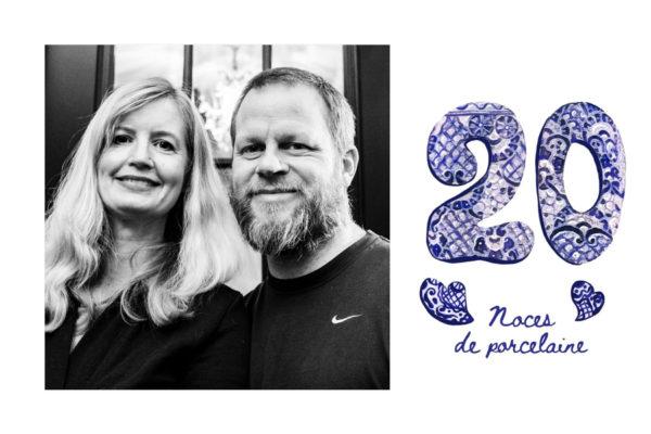 Carte anniversaire mariage 20 ans noces de porcelaine