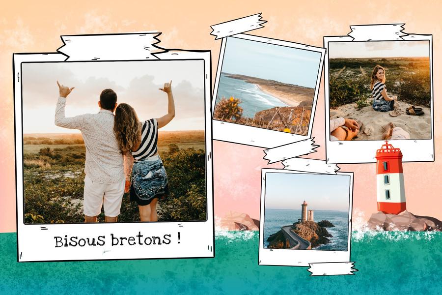 Carte postale Bretagne avec phare breton