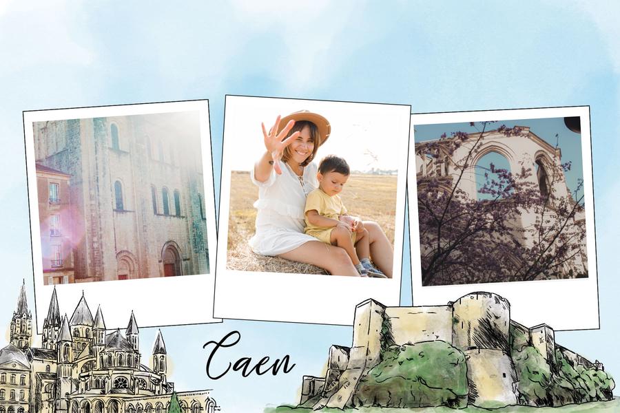 carte postale de Caen avec chateau fort