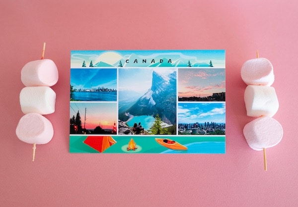 Application Fizzer et rendu réel d'une carte postale papier